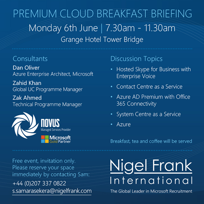 Join us at the Azure and Skype for Business Breakfast Briefing