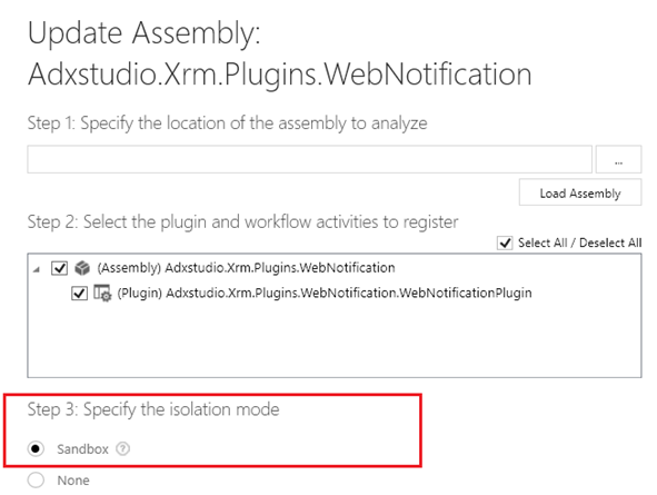 Dynamics CRM Sandbox settings screencap